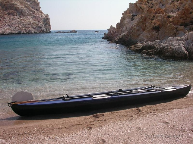 Our trusty workhorse, a folding kayak in Polyaigos