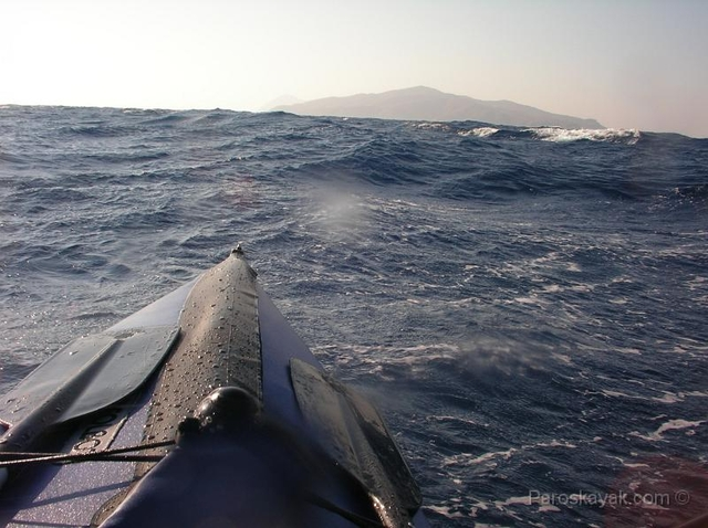 Our folding kayak in heavy seas