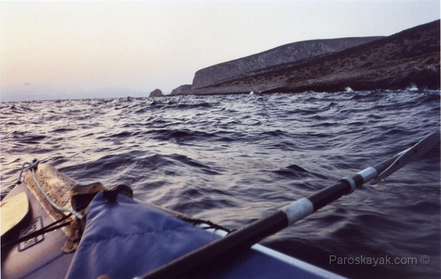 We paddled around the North cape of Keros through the mess of clapotis waves