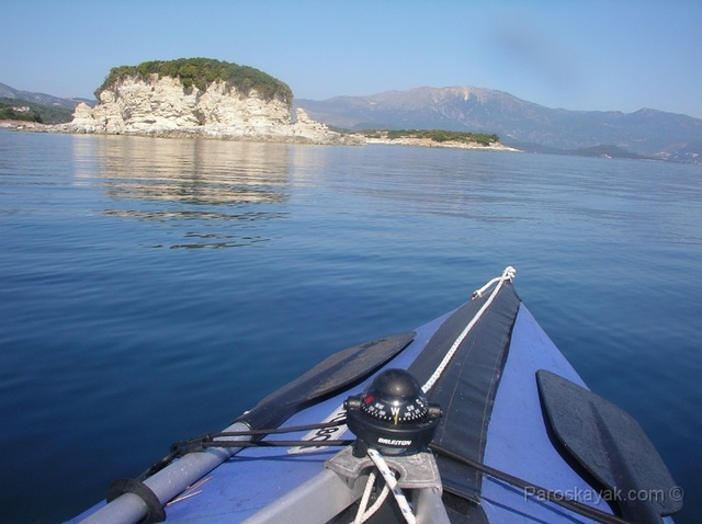 Crossing from Kalamos to Meganisi in the glass calm sea