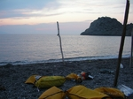 Setting up camp, Euboea island