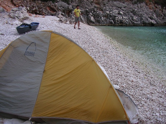 Our campsite at the South West coast of ithaki