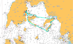Map of the journey, sea kayaking the Ionian islands.