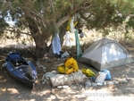 Our campsite in Eristos beach, Tilos island
