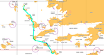 Map of the sea kayaking route in the Dodecanese islands