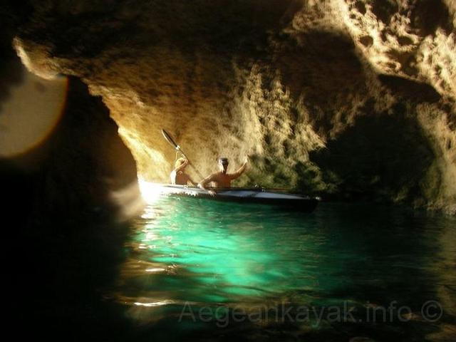 Caves in the bay of Agios Georgios