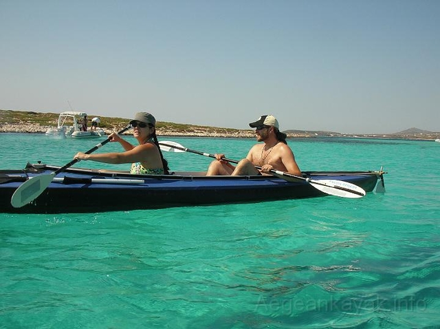 Paddling between Glaropounta and Tigani islets, South of Paros island
