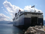 The ferry Kefalonia in the bay of Piso Aetos